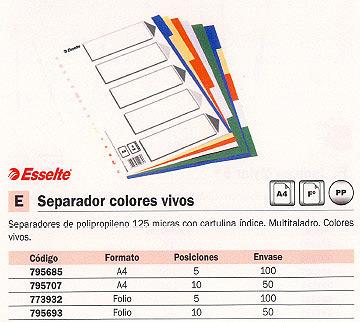 ENVASE DE 50 UNIDADES ESSELTE SEPARADORES 10 POSICIONES A4 COLORES SURTIDOS 11710