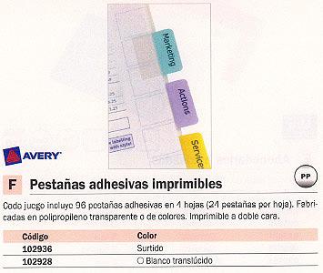 AVERY PESTAÑAS ADHESIVAS JUEGO 96 UD BLANCO TRANSLUCIDO IMPRIMIBLES 05412061