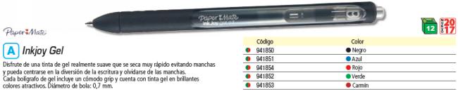 ENVASE DE 12 UNIDADES PAPER MATE BOLÍGRAFO INKJOY GEL NEGRO. ANCHO DE PUNTA 0,7 MM. 1957053