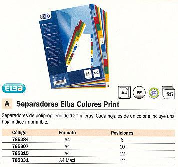 ENVASE DE 25 UNIDADES SEPARADORES ELBA COLORES PRINT 12 POSICIONES A4+ 100205086