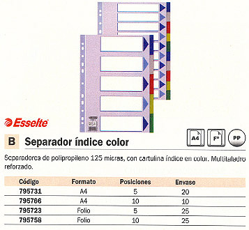 ESSELTE SEPARADORES 5 POSICIONES A4 MULTITALADRO COLORES SURTIDOS 15259