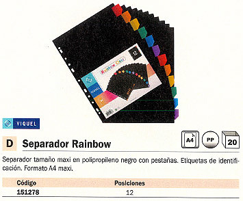 ENVASE DE 20 UNIDADES VIQUEL SEPARADORES RAINBOW CLASS 12 POSICIONES A4 15906706