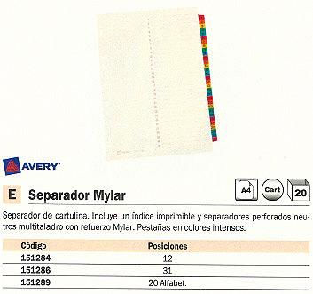 AVERY SEPARADORES ALFABETICOS MYLAR 20 POSICIONES COLORES SURTIDOS 5193501