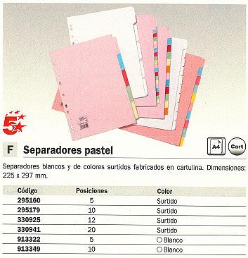 5 STAR SEPARADORES 12 POSICIONES A4 COLORES SURTIDOS CARTULINA 330925