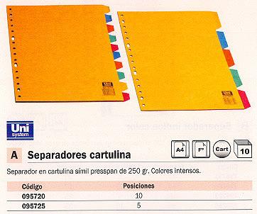 ENVASE DE 10 UNIDADES DEFINICLAS SEPARADORES 10 POSICIONES FOLIO/A4 CARTULINA 95720
