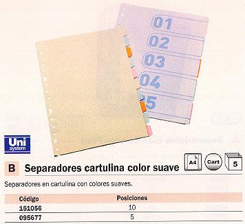 ENVASE DE 5 UNIDADES DEFINICLAS SEPARADORES 5 POSICIONES FOLIO-A4 COLORES SURTIDOS CARTULINA 95677