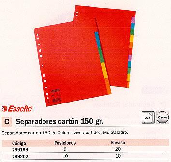 ESSELTE SEPARADORES 5 POSICIONES A4 CARTON 100199