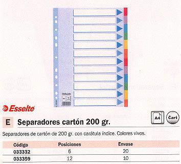 ENVASE DE 20 UNIDADES ESSELTE SEPARADORES 6 POSICIONES A4 COLORES SURTIDOS CARTÓN 100192
