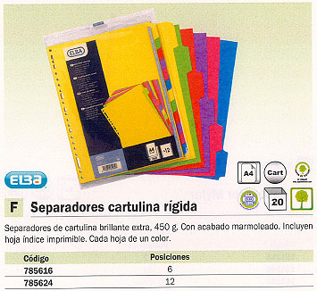 ENVASE DE 20 UNIDADES ELBA SEPARADORES 12 POSICIONES A4 CARTULINA 100204952