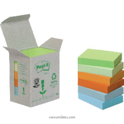 POST-IT TORRE NOTAS ADHESIVAS 6 BLOCS 100H COLORES PASTEL SURTIDOS 38X51MM RECICLADO FT510118662