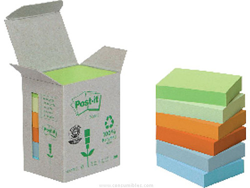 POST IT TORRE NOTAS ADHESIVAS 6 BLOCS 100H COLORES PASTEL SURTIDOS 38X51 MM RECICLADO FT510118662