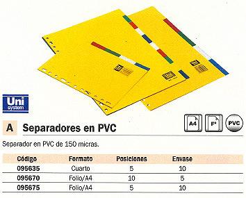 ENVASE DE 10 UNIDADES DEFINICLAS SEPARADORES 5 POSICIONES FOLIO-A4 95675