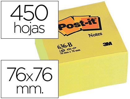 POST-IT CUBO NOTAS ADHESIVAS 450H AMARILLO 76X76MM FT510018763