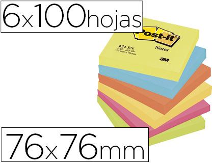 POST-IT NOTAS ADHESIVAS GAMA ENERGIA PACK 6 BLOCS 100H COLORES SURTIDOS 76X76MM FT510283540