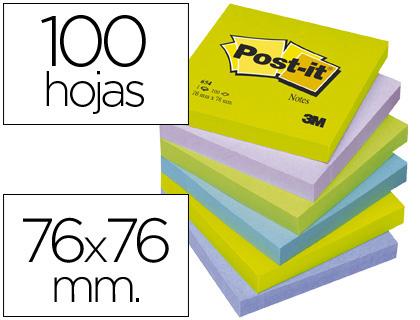 Blocs de notas BLOC DE NOTAS ADHESIVAS QUITA Y PON POST-IT 76X76 MM ULTRA INTENSO SURTIDO PACK DE 6 BLOCS