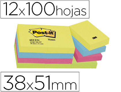 POST-IT NOTAS ADHESIVAS GAMA ENERGIA PACK 12 BLOCS 100H COLORES SURTIDOS 38X51MM FT510283532