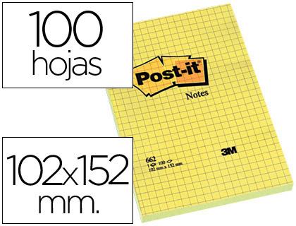 Notas adhesivas ENVASE DE 6 UNIDADESBLOC DE NOTAS ADHESIVAS QUITA Y PON POST IT 102X152 MM CUADRICULADO 662