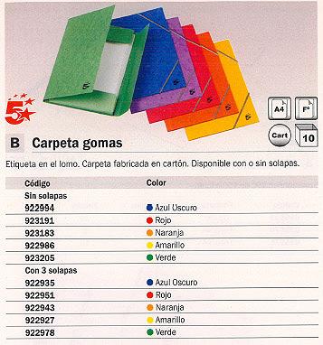 ENVASE DE 10 UNIDADES 5 STAR CARPETA GOMAS 3 SOLAPAS A4 AZUL OSCURO 400005340