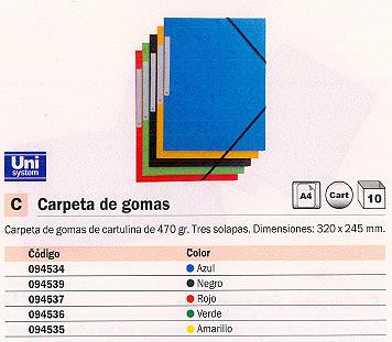 Comprar Carpetas con gomas carton 094535 de Unisystem online.