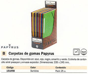 PAPYRUS CARPETA GOMAS PAQUETE 25 UD FOLIO COLORES SURTIDOS P4004303