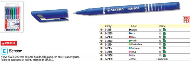 ENVASE DE 10 UNIDADES STABILO ROTULADOR SENSOR VERDE CLARO PUNTA FINA 189/43
