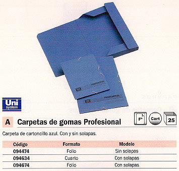 Comprar Carpetas con gomas carton 094674 de Unisystem online.