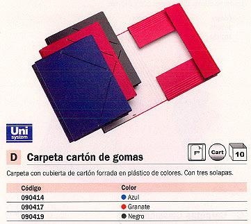 Comprar Carpetas con gomas carton 090419 de Unisystem online.