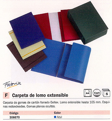 FABRISA CARPETA GOMAS A4 LOMO EXTENSIBLE HASTA 105 MM AZUL 0