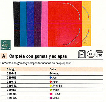 Comprar Carpetas con gomas polipropileno 089765(1/30) de Exacompta online.