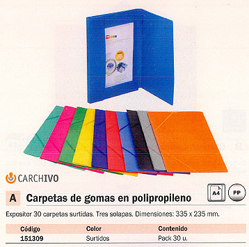 CARCHIVO EXPOSITOR CARPETAS 50 UD 3 SOLAPAS FOLIO COLORES SURTIDOS POLIPROPILENO 2033KS