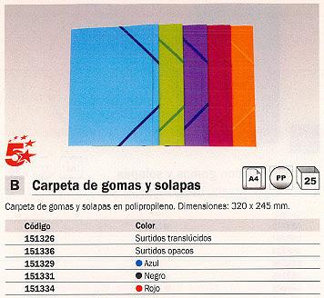 ENVASE DE 25 UNIDADES 5 ESTRELLAS CARPETA GOMAS 3 SOLAPAS A4 AZUL POLIPROPILENO 42921514