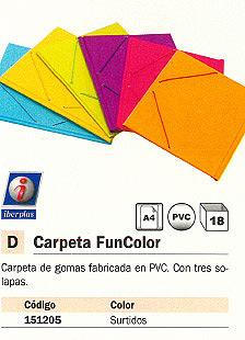 IBERPLAS CARPETA GOMAS FUNCOLOR 3 SOLAPAS FOLIO COLORES SURTIDOS PVC 343FC90