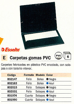 ESSELTE CARPETA GOMAS CON SOLAPAS FOLIO NEGRO PVC 73009