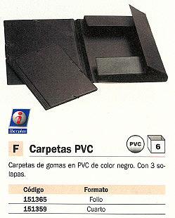 IBERPLAS CARPETA GOMAS 3 SOLAPAS FOLIO NEGRO PVC 343CS00