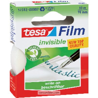 TESA CINTA ADHESIVA INVISIBLE 19 MMX33M USO UNIVERSAL FOTOCOPIABLE Y ROTULABLE 8100304