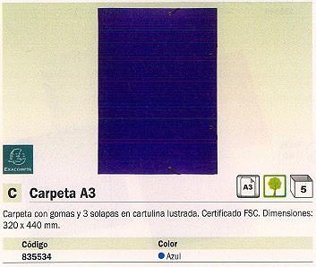 EXACOMPTA CARPETA GOMAS A3 3 SOLAPAS A3 AZUL CARTULINA FSC 59507E