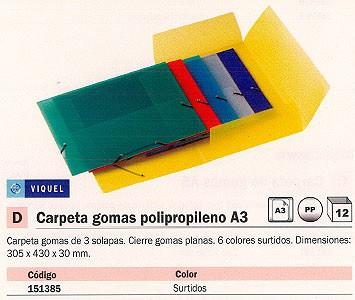 VIQUEL CARPETA GOMAS 3 SOLAPAS A3 6 COLORES SURTIDOS POLIPRO