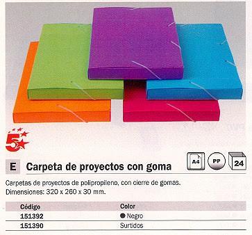 ENVASE DE 24 UNIDADES 5 STAR CARPETA DE PROYECTOS LOMO 30 MM COLORES SURTIDOS POLIPROPILENO A4 42459798