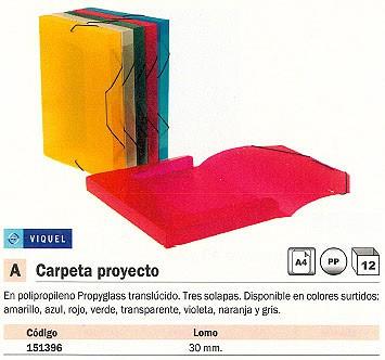 ENVASE DE 12 UNIDADES VIQUEL CARPETA DE PROYECTOS LOMO 30 MM COLORES SURTIDOS POLIPROPILENO A4 02138305