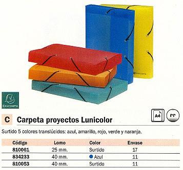 EXACOMPTA CARPETAS PROYECTO LINICOLOR A4 LOMO 40 MM AZUL POLIPROPILENO 59772E
