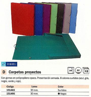 ENVASE DE 12 UNIDADES VIQUEL CARPETA DE PROYECTOS LOMO 30MM COLORES SURTIDOS POLIPROPILENO A4 02138705