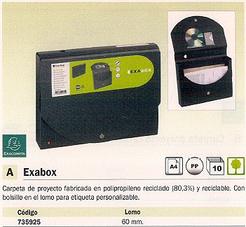 ENVASE DE 10 UNIDADES EXACOMPTA CARPETAS PROYECTO EXABOX A4 LOMO 60 MM POLIPROPILENO 59134E