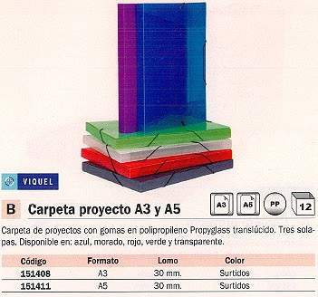 ENVASE DE 12 UNIDADES VIQUEL CARPETA DE PROYECTOS LOMO 30MM COLORES SURTIDOS POLIPROPILENO A3 PERSONALIZABLE 02088305