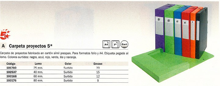 Comprar Carpetas proyecto carton 101760(1/20) de 5 Estrellas online.