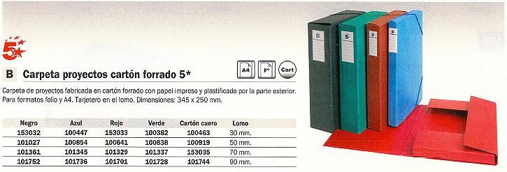 5 ESTRELLAS CARPETA DE PROYECTOS LOMO 50MM A4 NEGRO 101027