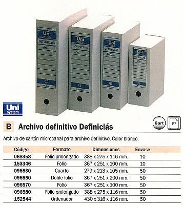 ENVASE DE 50 UNIDADES ARCHIVADOR DEFINITIVO DEFINICLAS DOBLE FOLIO 367 X 251 X 200 BLANCO CARTON MICROCANAL 96550