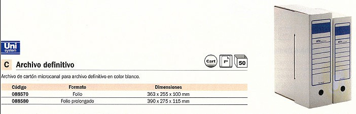 ENVASE DE 50 UNIDADES MARCA BLANCA ARCHIVO DEFINITIVO FOLIO PROLONGADO 390X275X115MM BLANCO 88580