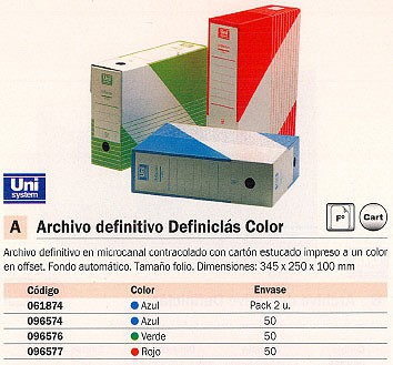 ARCHIVO DEFINICLAS COLOR FOLIO 345X250X100 MM AZUL MICROCANAL CONTRACOLADO 1235.011.01.01