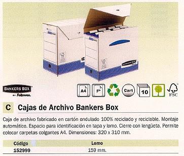 ENVASE DE 10 UNIDADES FELLOWES CAJA ARCHIVO DEFINITIVO A4 320X310 MM RECICLADO 0026801