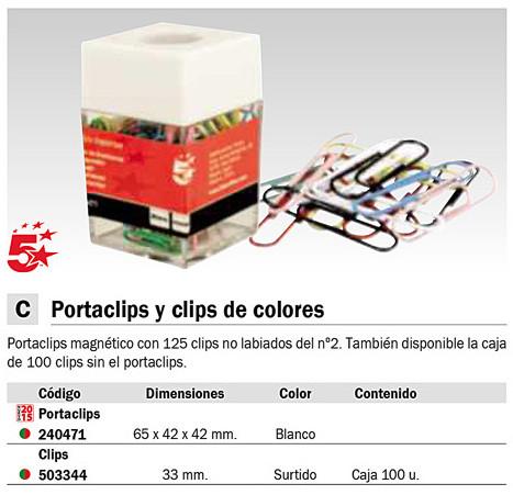 Accesorios de Sobremesa 5 ESTRELLAS PORTACLIP MAGNETICO BLANCO/TRANSPARENTE 240471